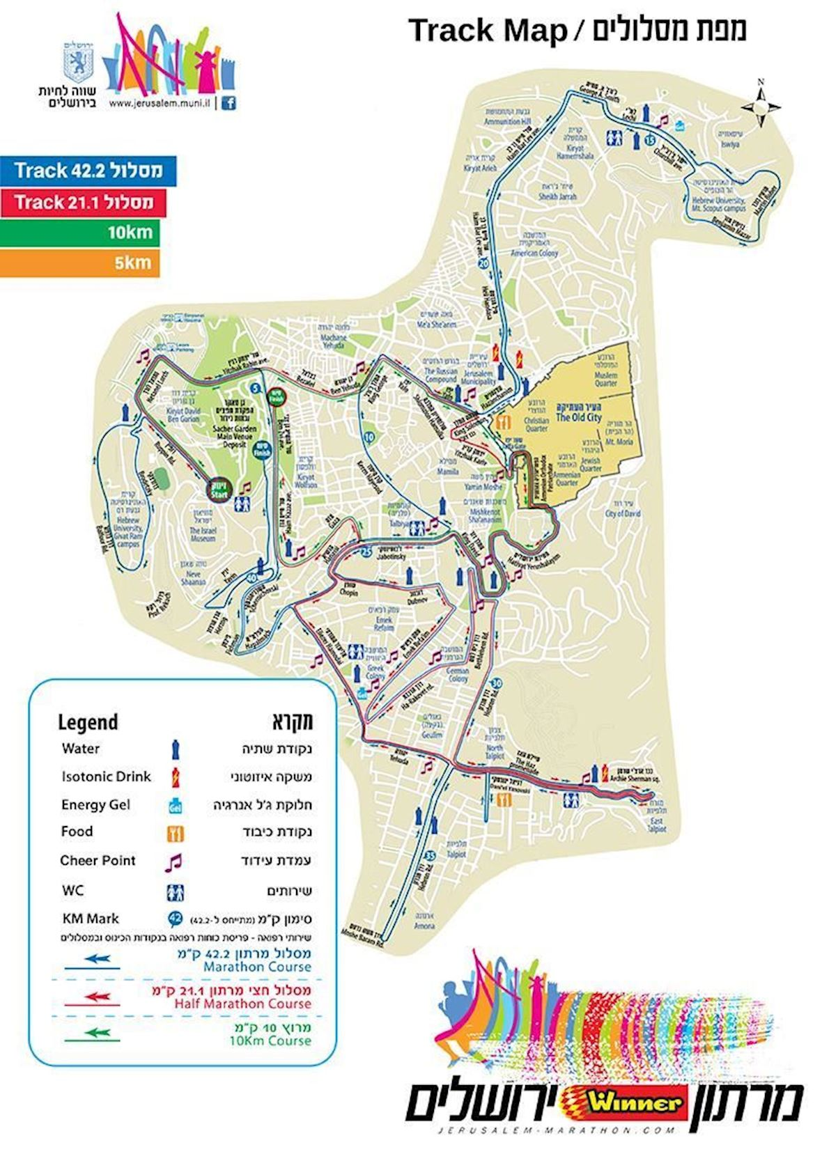 Jerusalem Marathon Mappa del percorso