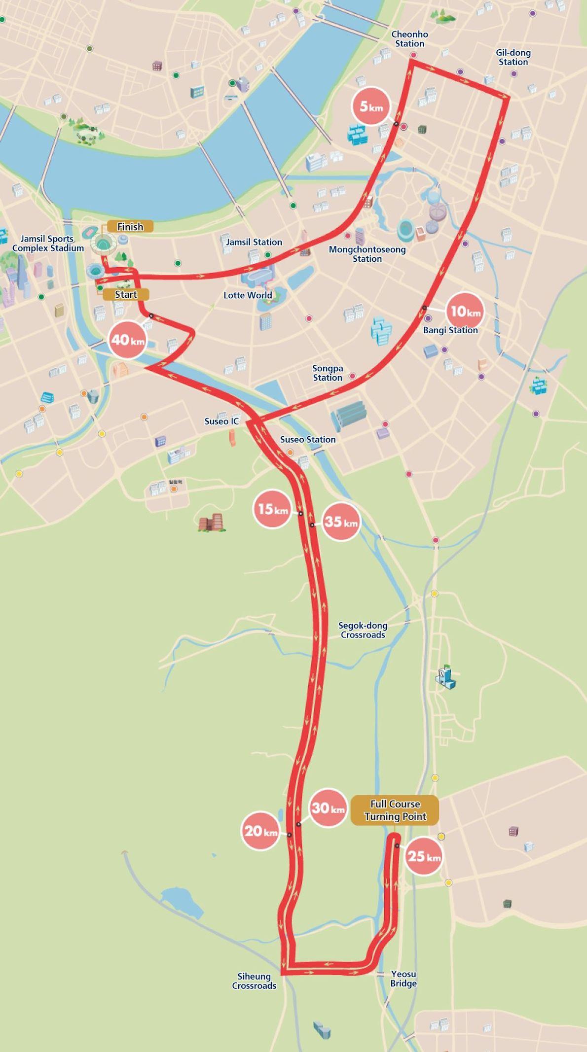 JTBC Seoul Marathon, former Joongang Seoul Marathon 路线图