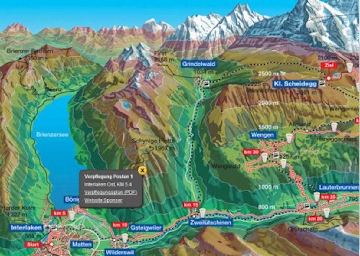 Jungfrau Marathon Mappa del percorso