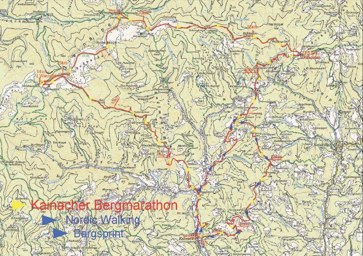 Kainach Bergmarathon Mappa del percorso