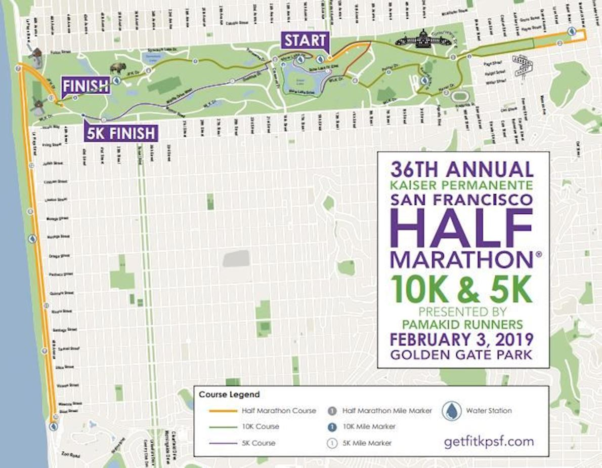 Kaiser Permanente Half Marathon Route Map