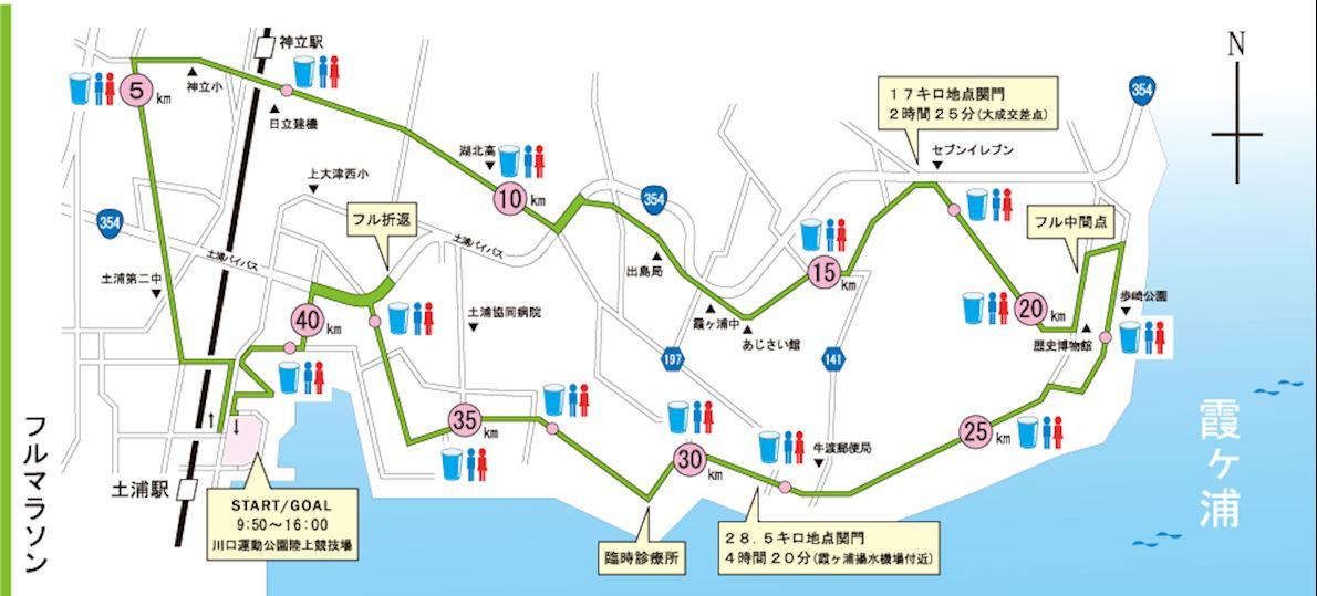 Kasumigaura Marathon Mappa del percorso