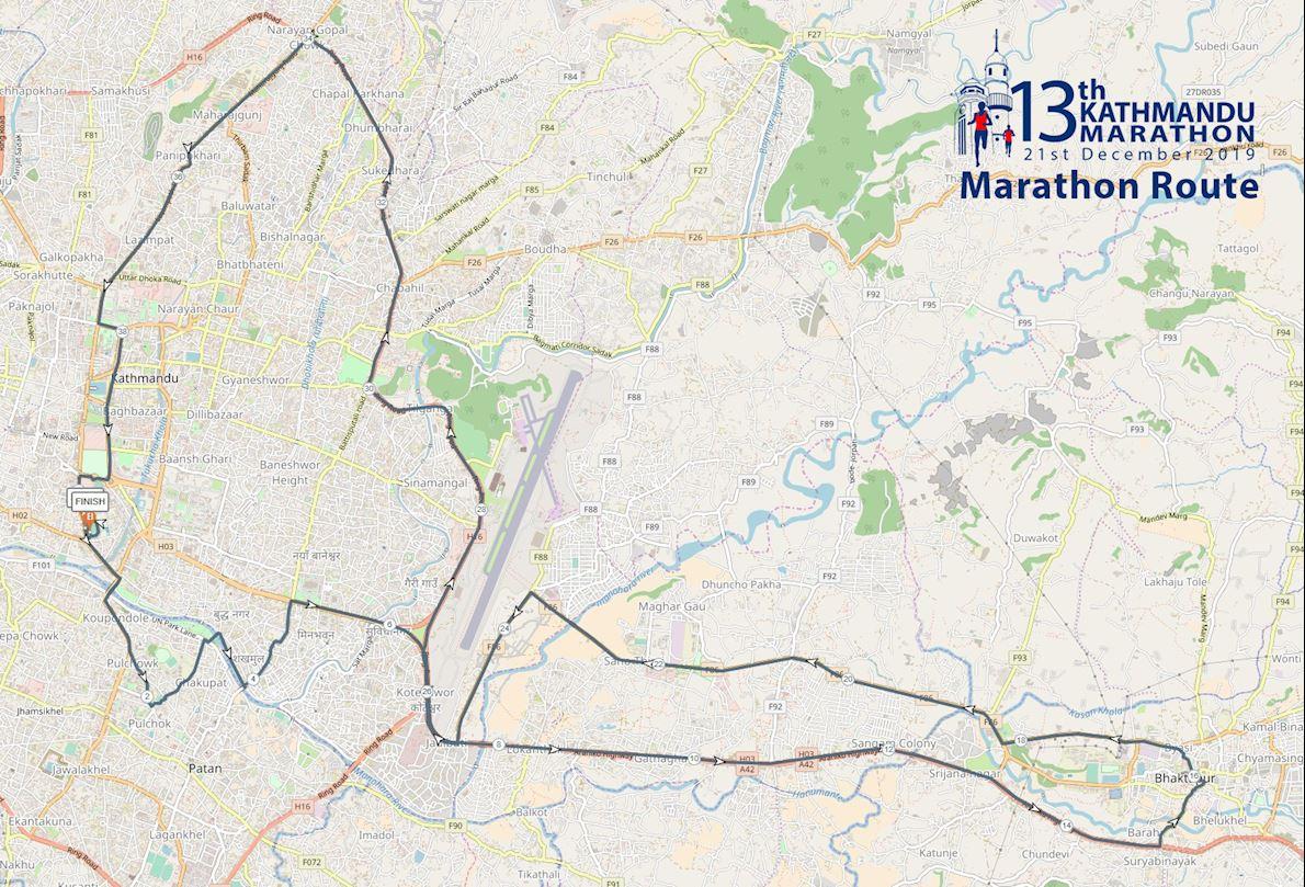 13TH Kathmandu Marathon 2019 Route Map