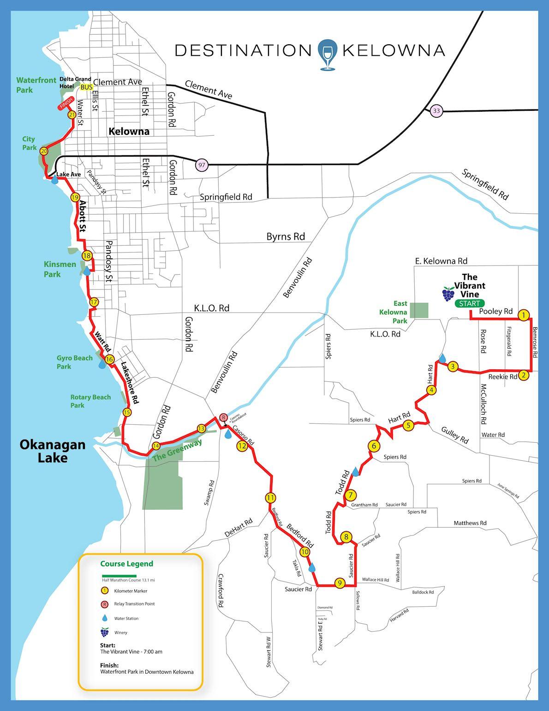 Kelowna Wine Country Half Marathon 路线图