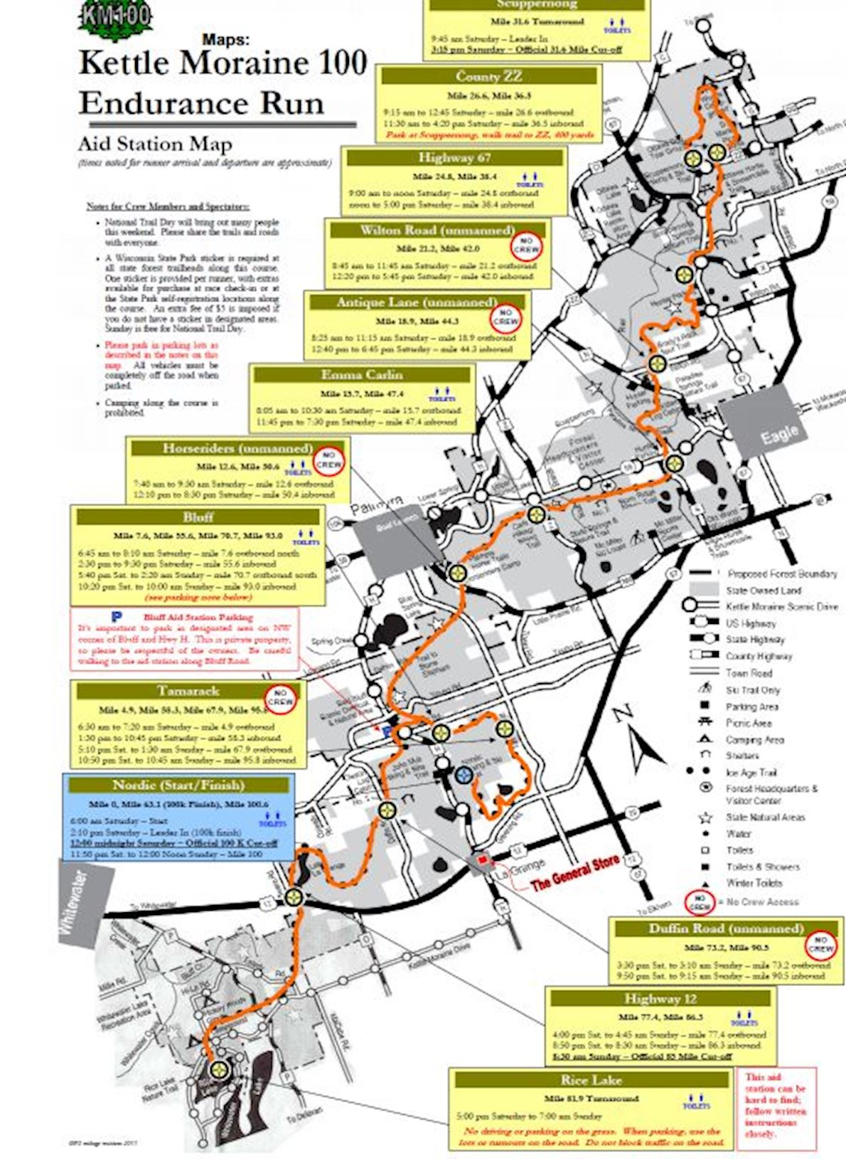 Kettle Moraine 100 Endurance Runs Route Map