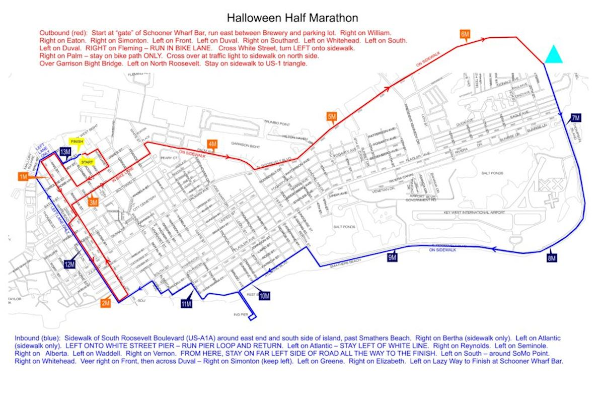 Key West Halloween Half Marathon Routenkarte
