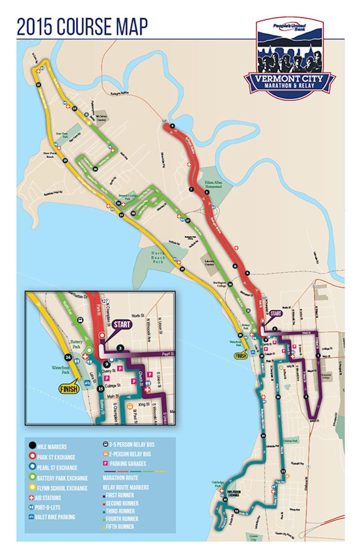 Vermont City Marathon Mappa del percorso