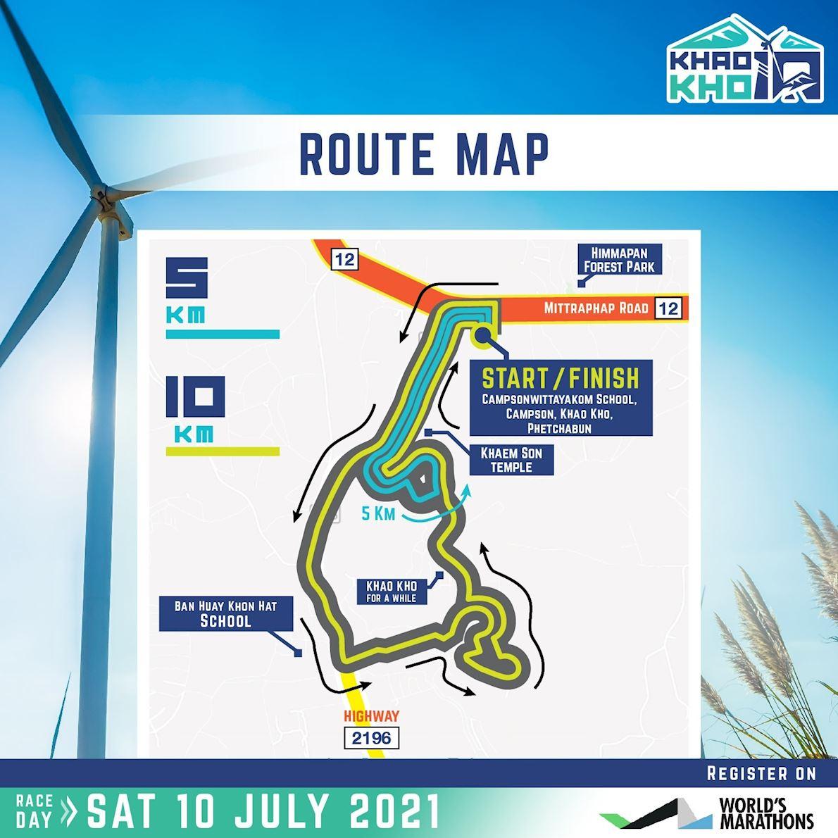 Khao Kho 10K and 5K Route Map