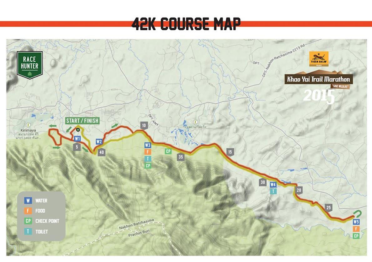 Khao Yai Trail Marathon MAPA DEL RECORRIDO DE