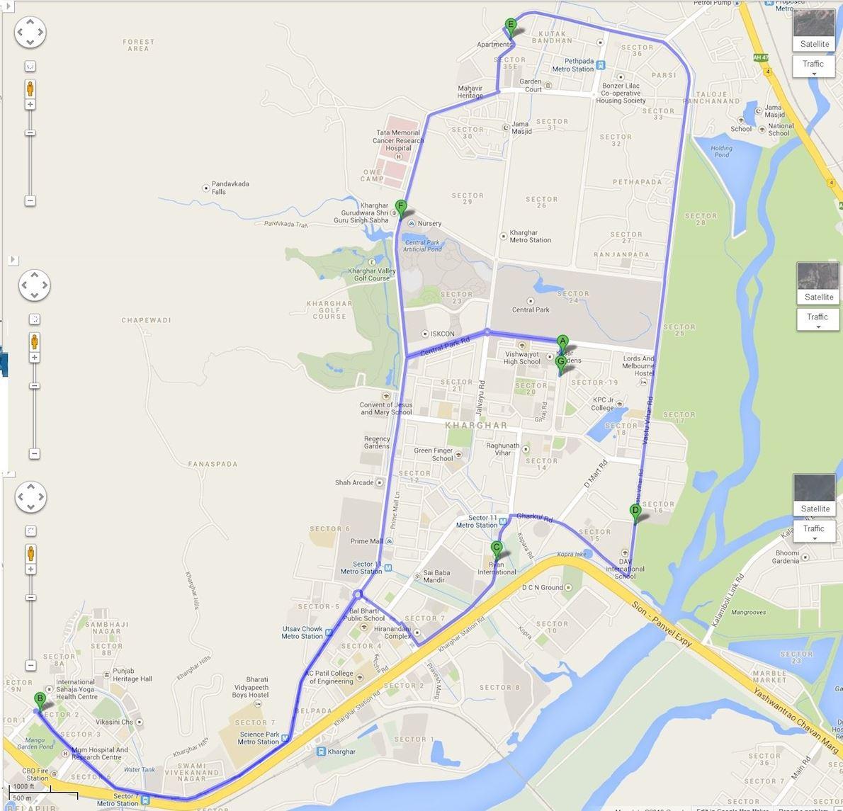 Kharghar Marathon Route Map