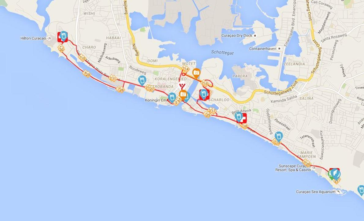 KLM Curaçao Marathon Route Map