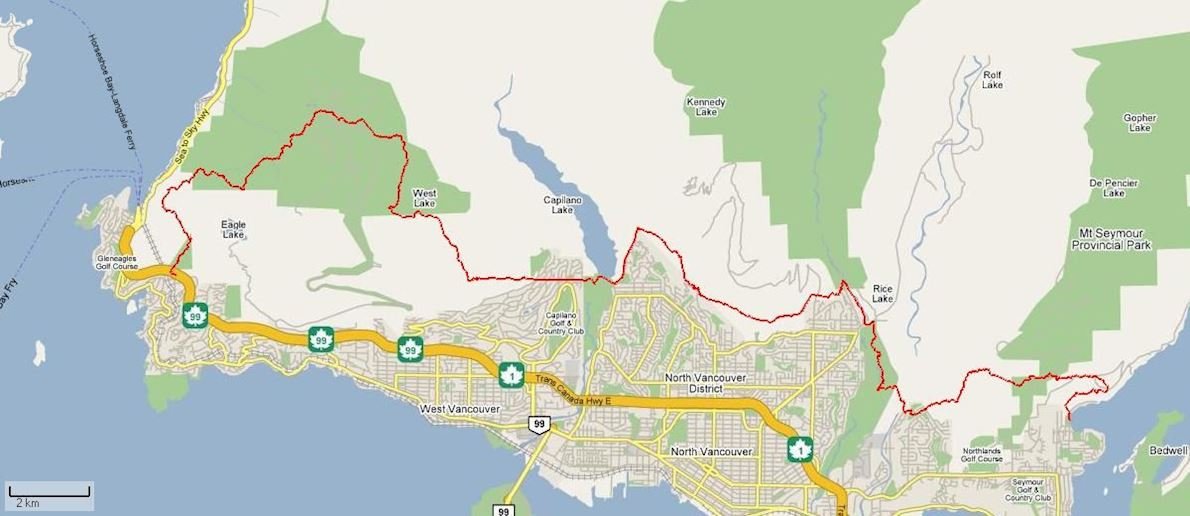 Knee Knackering North Shore Trail Run Route Map