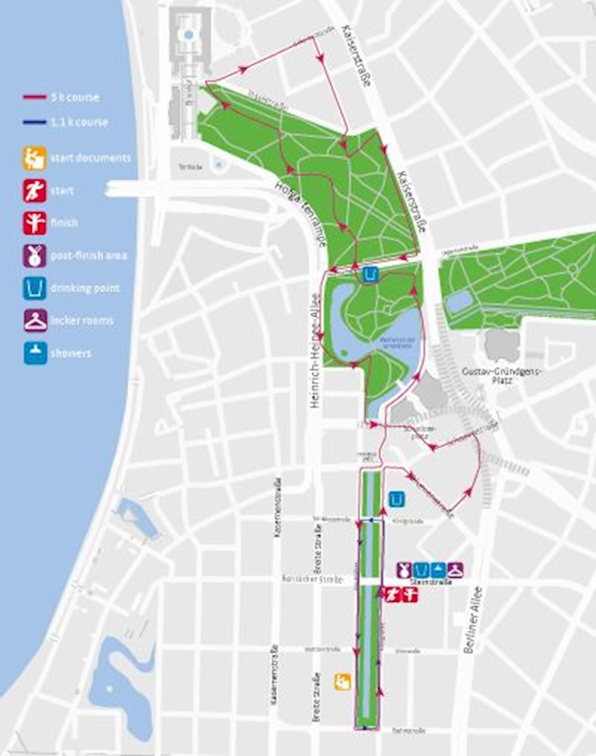Stadtwerke Düsseldorf Halbmarathon auf der Kö Route Map