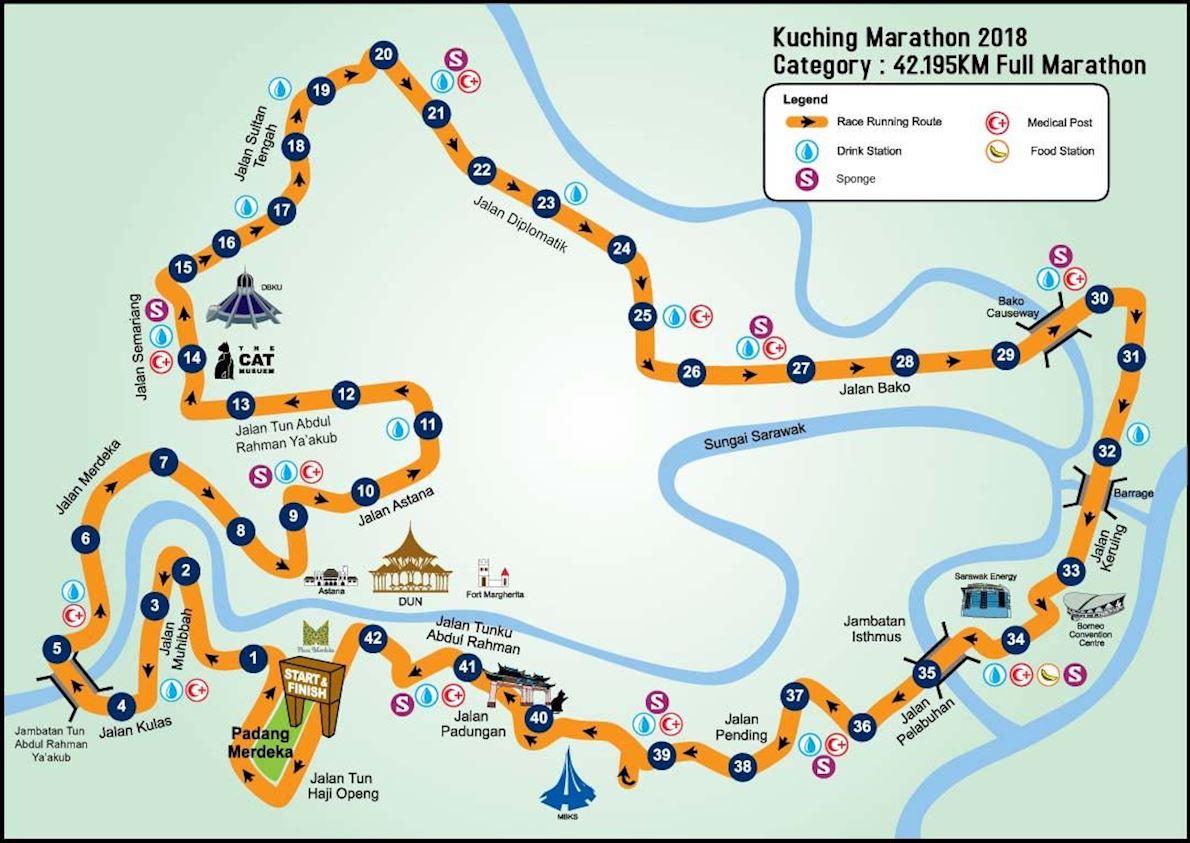 Kuching Marathon Routenkarte