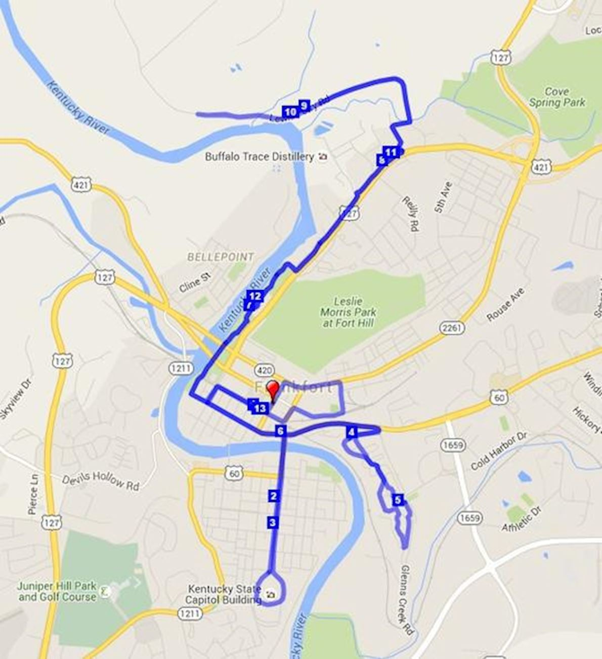 KY History Half Marathon, 10K, 5K and 1 Mile Fun Run Route Map