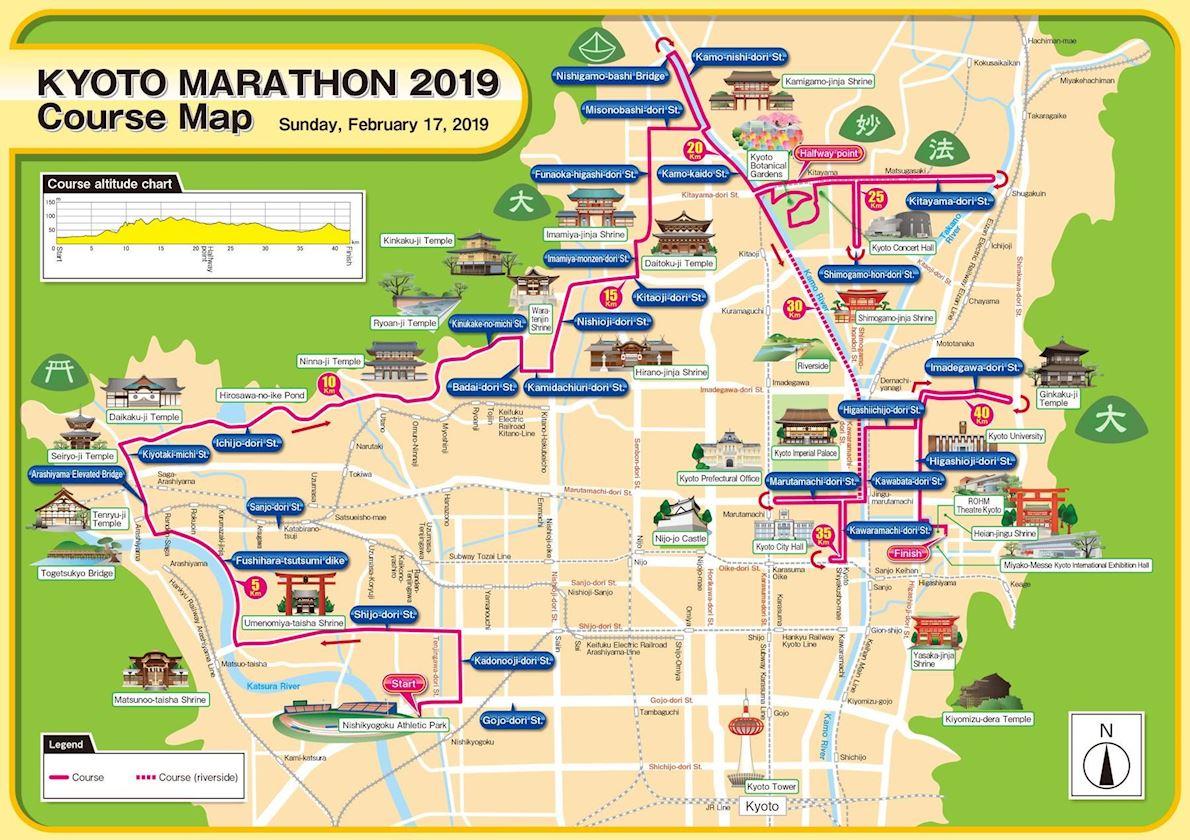 Kyoto Marathon Mappa del percorso
