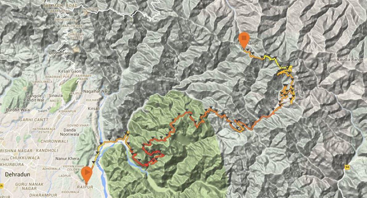 La Ultra - Garhwal Runs MAPA DEL RECORRIDO DE