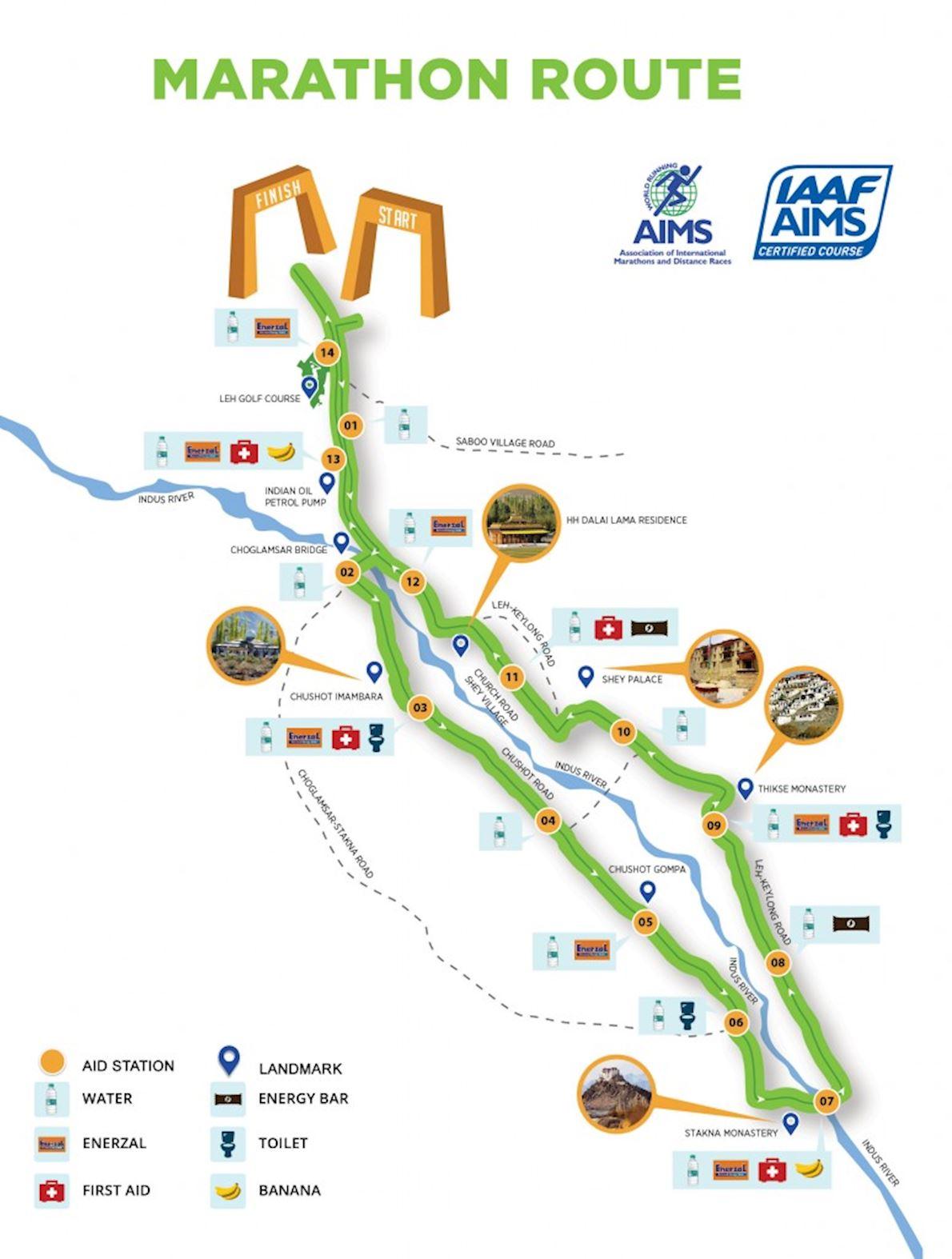 Ladakh Marathon Mappa del percorso