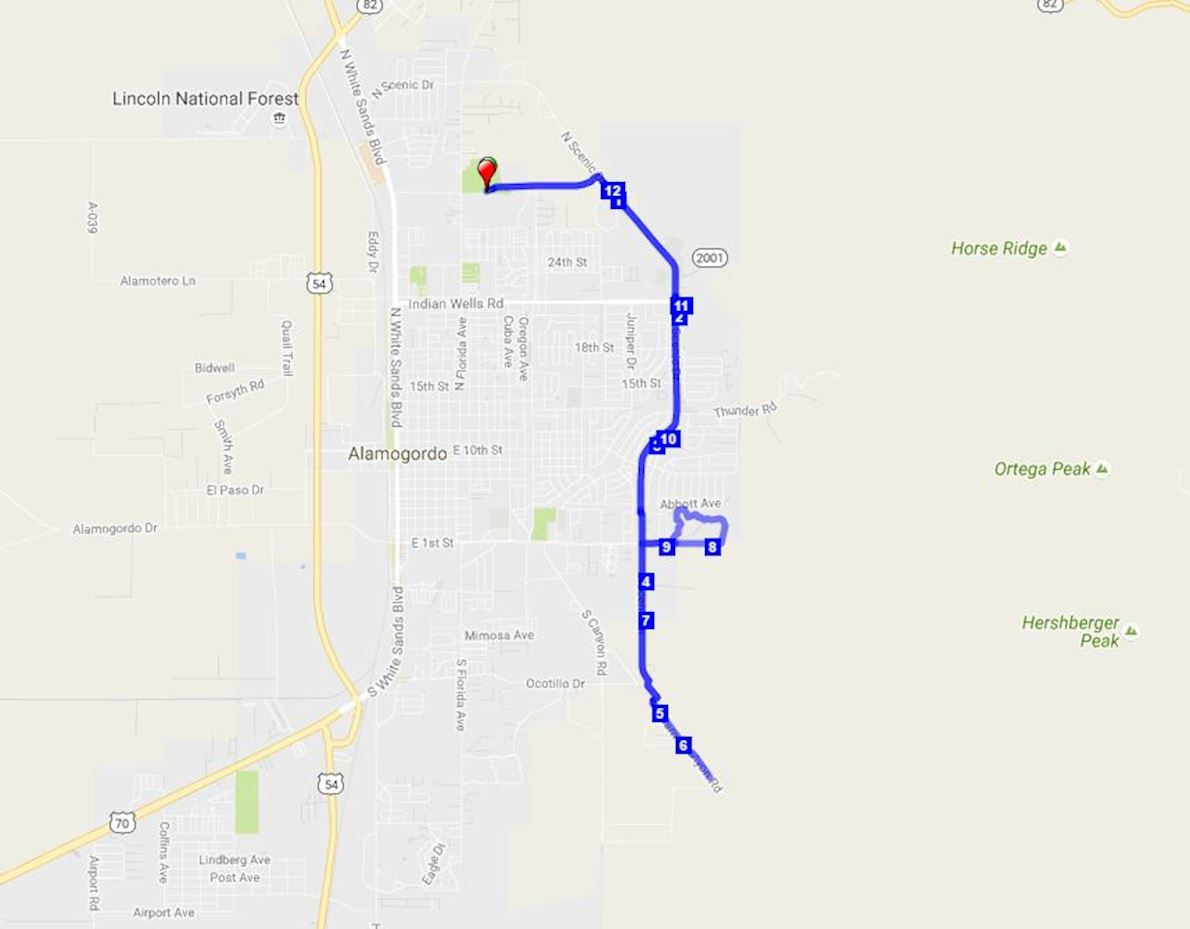 Lady of the Mountain Run Route Map