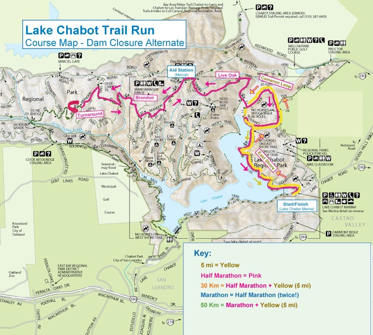 Lake Chabot Train Run (Nov) Routenkarte