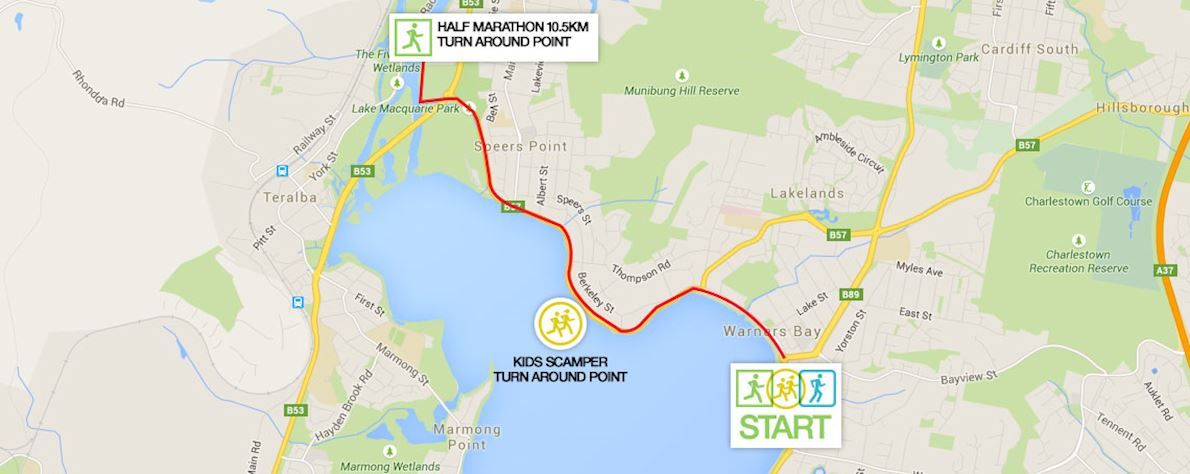 Lake Macquarie Running Festival Routenkarte