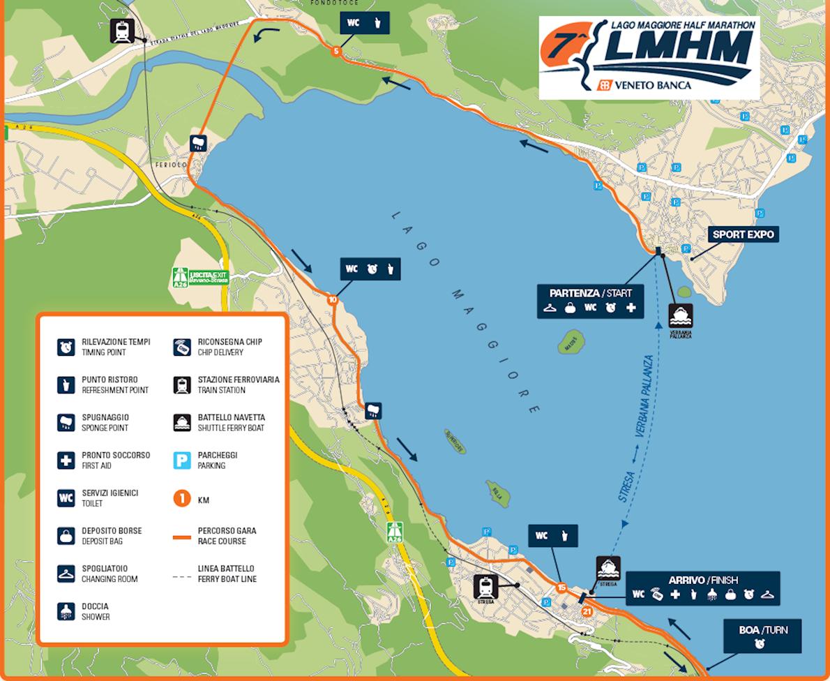 Lake Maggiore Half Marathon Routenkarte