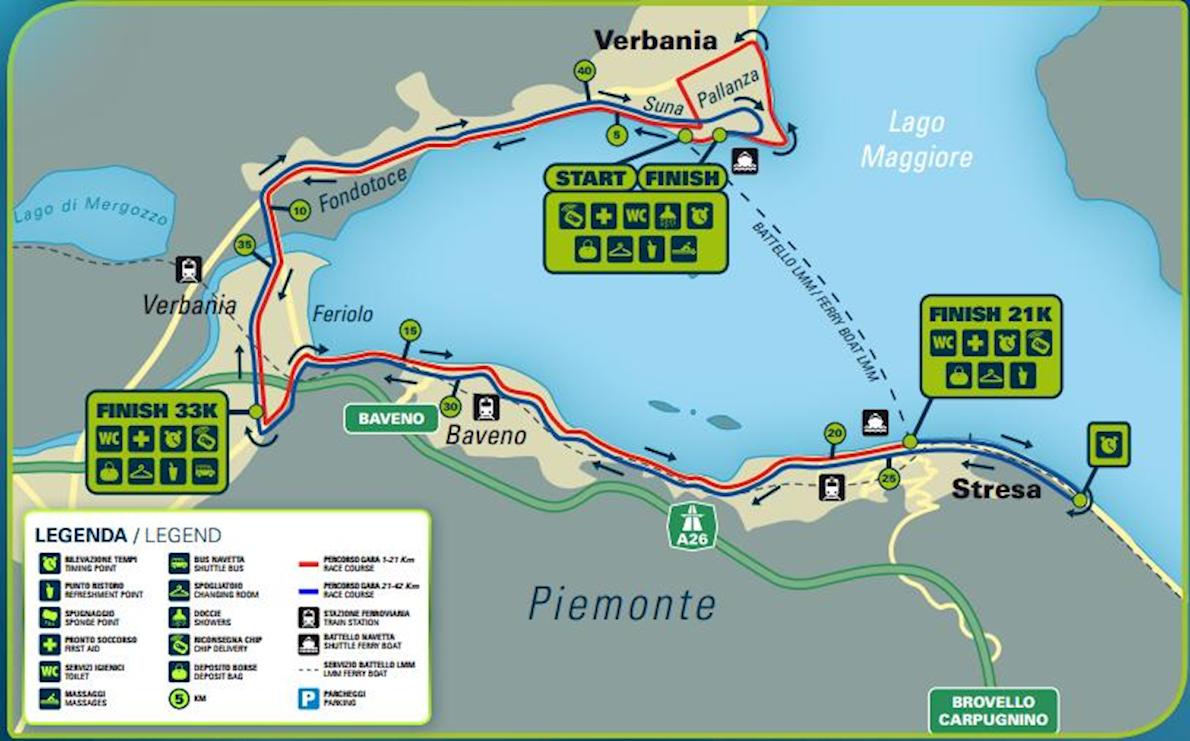 Lake Maggiore Marathon Route Map