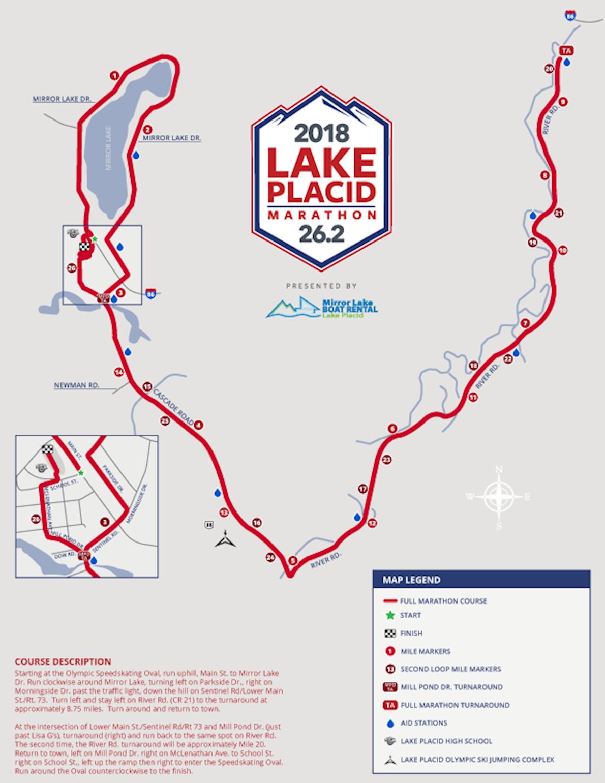 Lake Placid Marathon and Half Routenkarte
