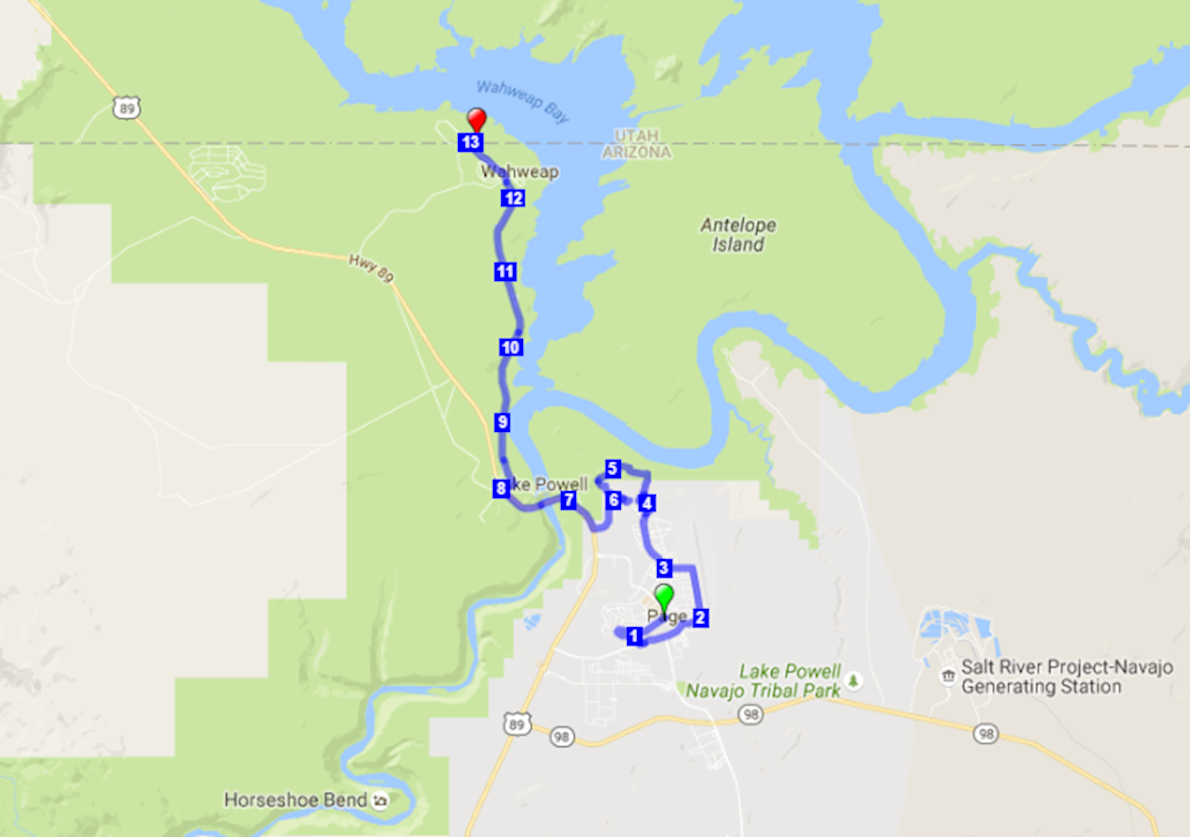 Lake Powell Half Marathon 路线图