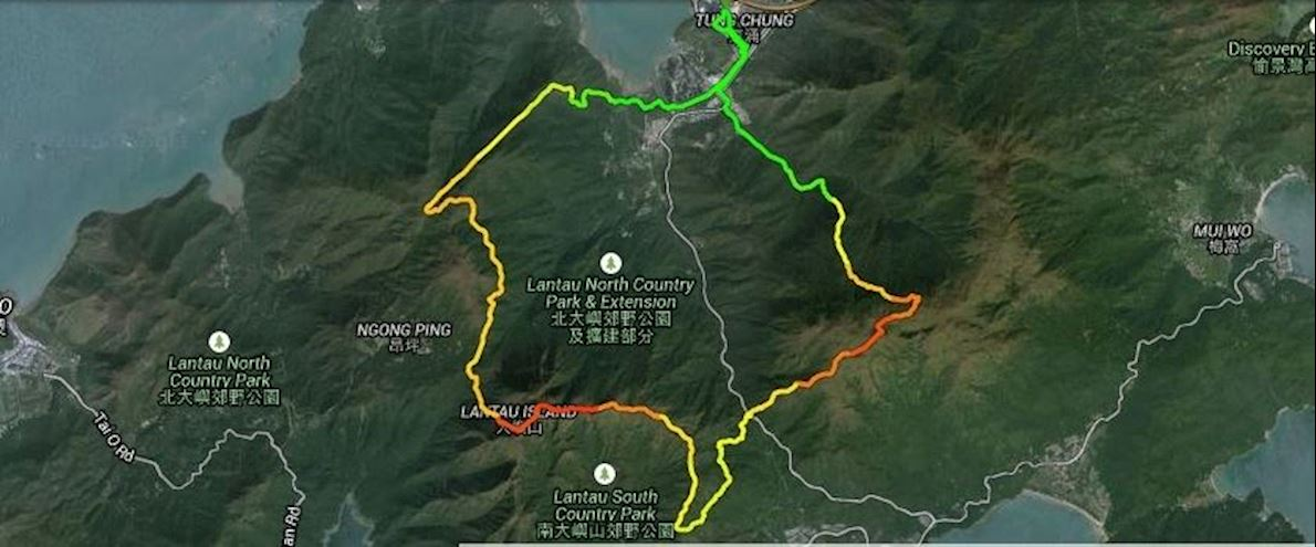 Lantau 2 Peaks Route Map