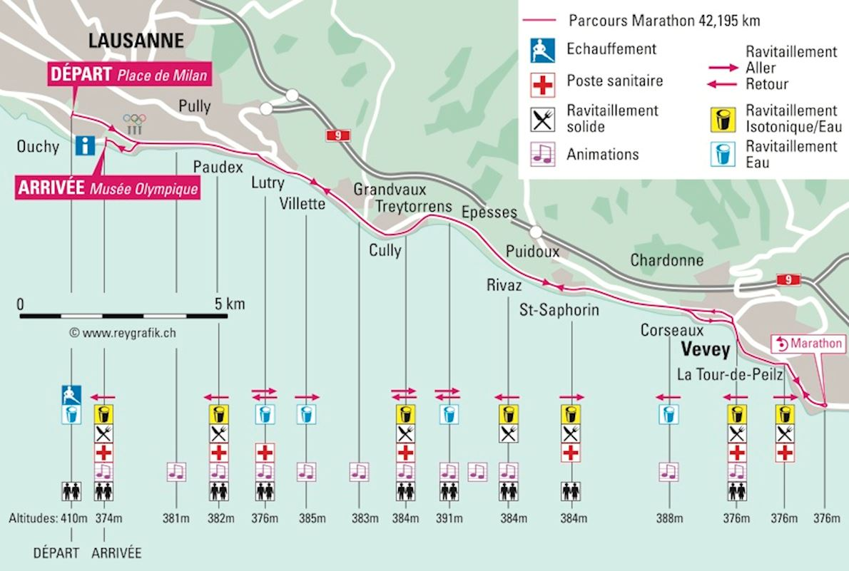 Lausanne Marathon Route Map