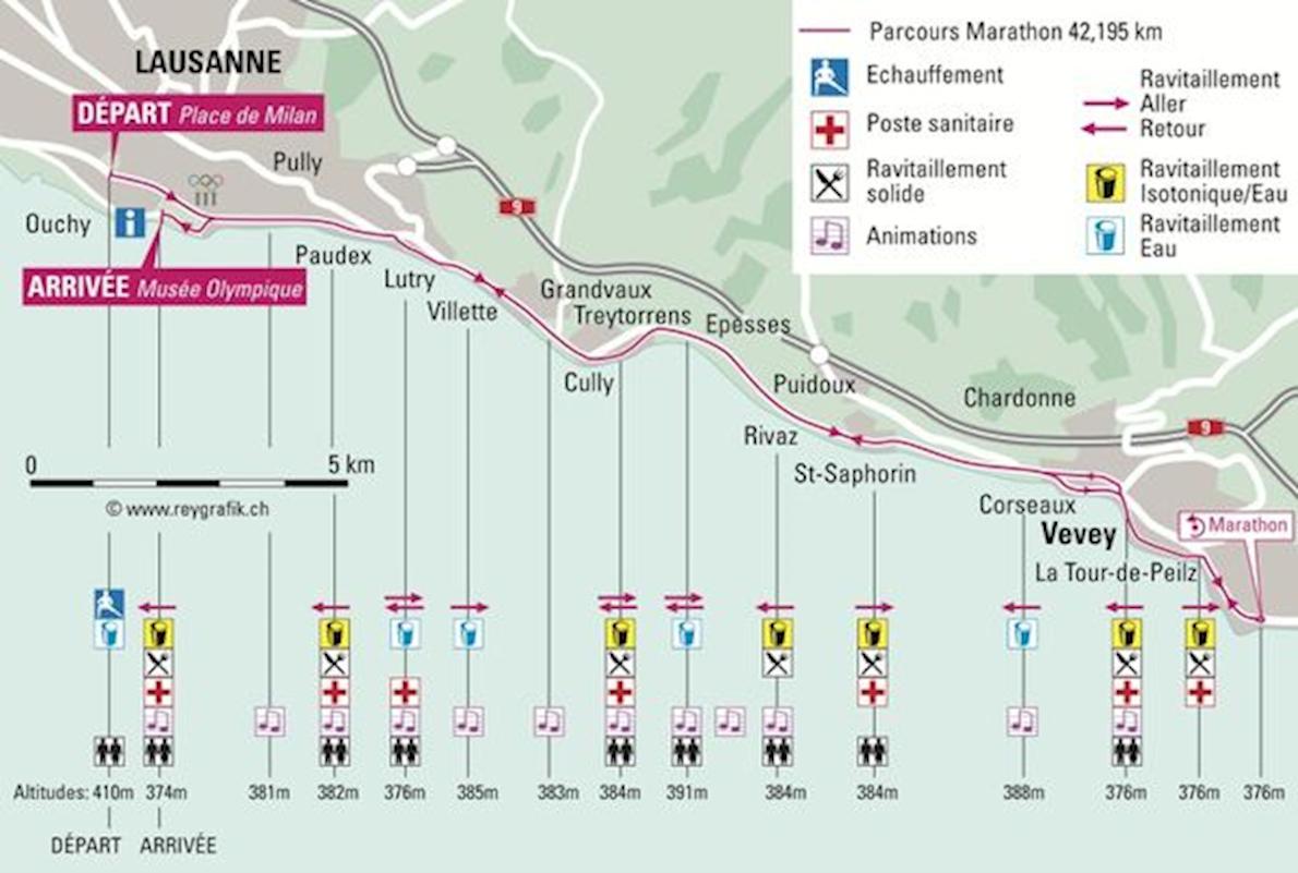 Lausanne Marathon Routenkarte