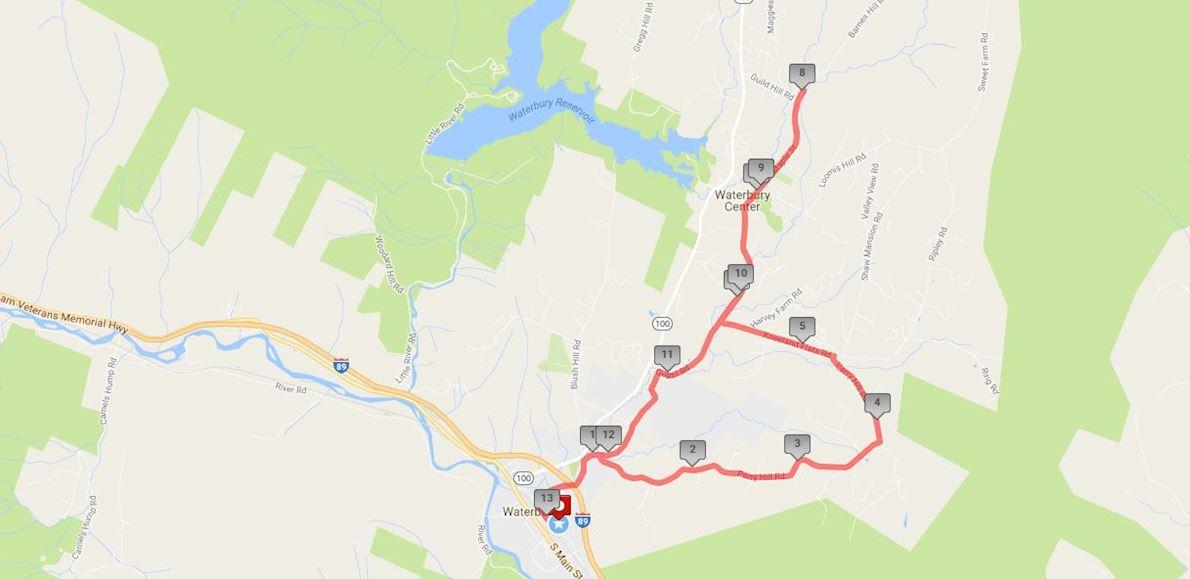 Leaf Peepers Half Marathon & 5K Routenkarte