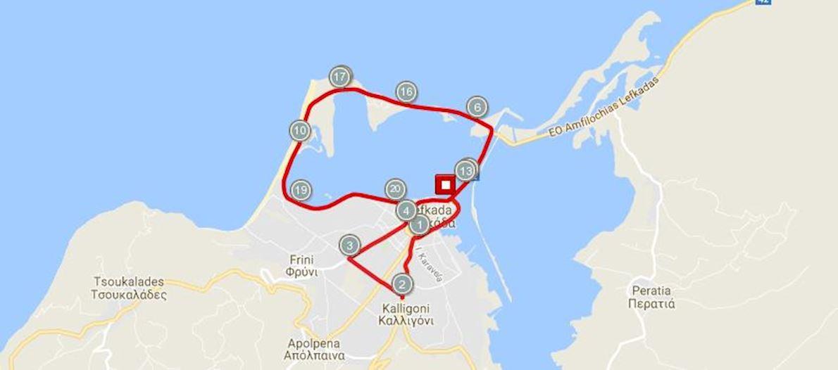 Lefkada Green Half Marathon (Sunset Run) Mappa del percorso