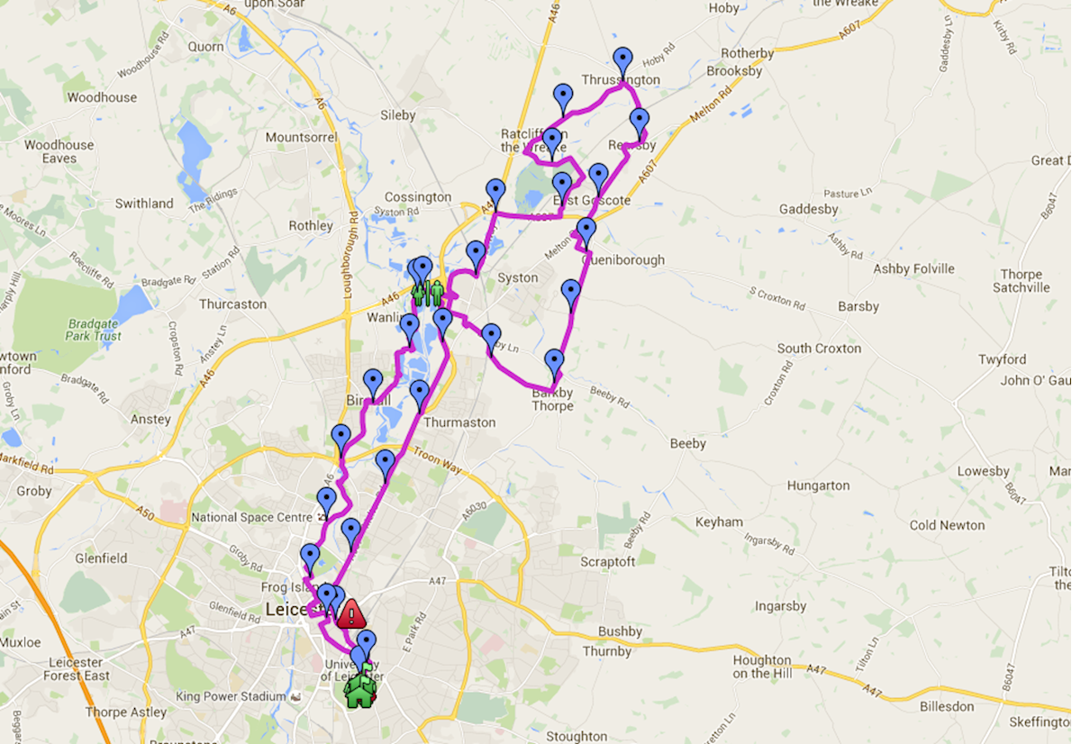 Leicester Marathon MAPA DEL RECORRIDO DE