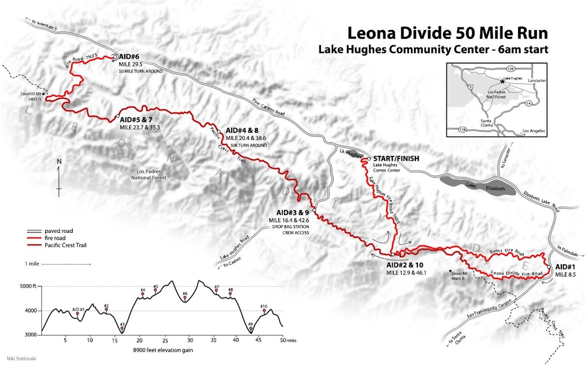 Leona Divide 50/50 Route Map