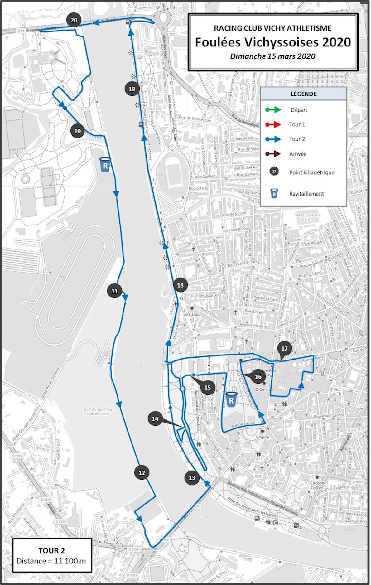 Les Foulées Vichyssoises Route Map
