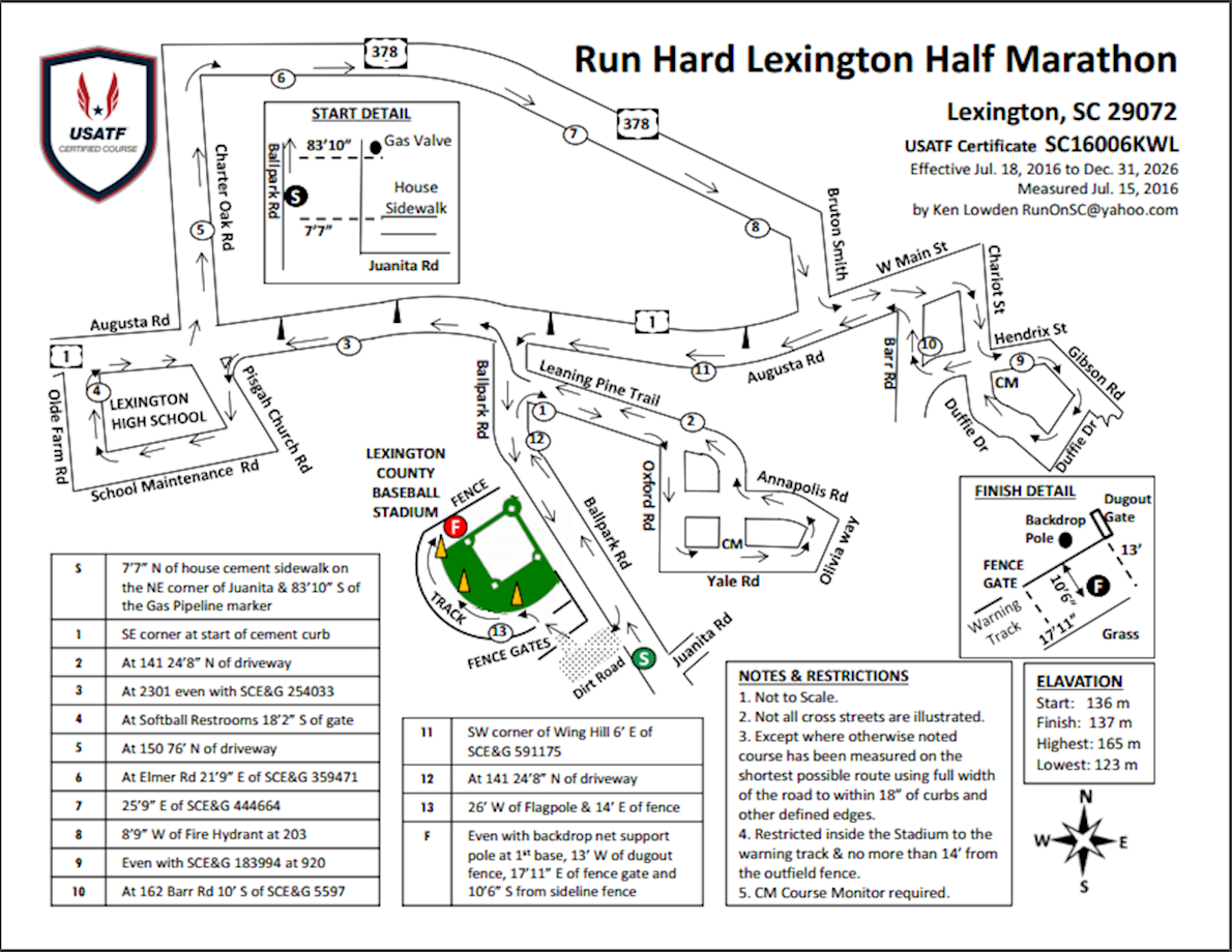 Run Hard Lexington Half Marathon Route Map