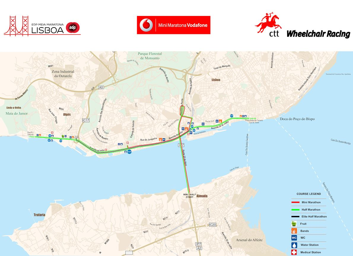 EDP Lisbon Half Marathon Route Map