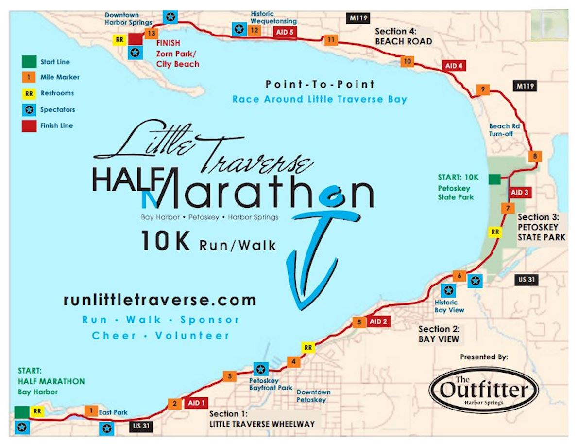 Little Traverse Half Marathon Route Map