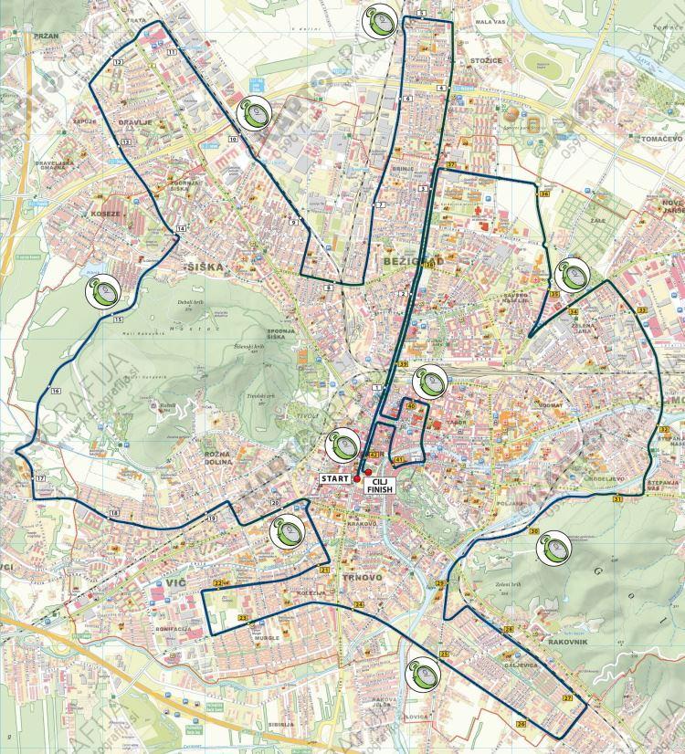 Ljubljanski/Ljubljana Marathon Routenkarte
