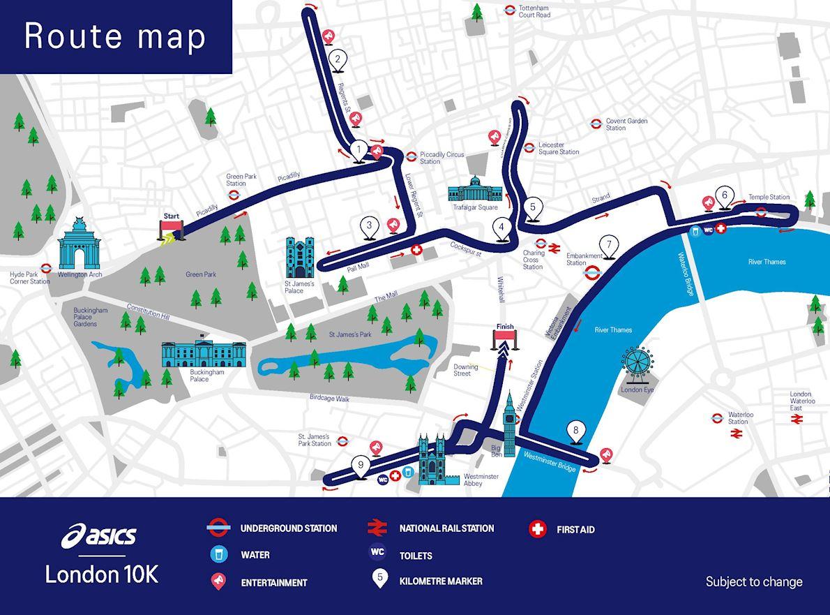 Asics London 10k Route Map