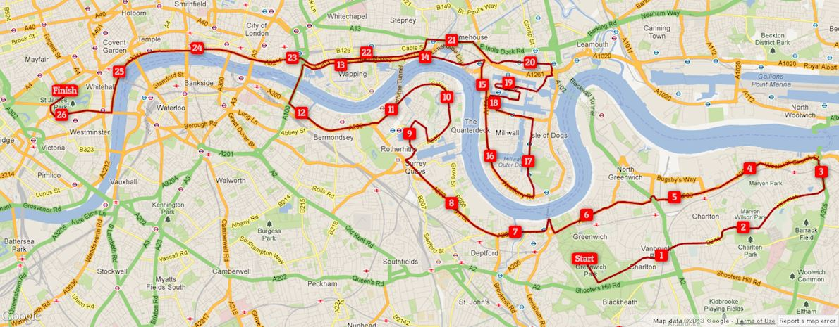 Virgin Money London Marathon 路线图
