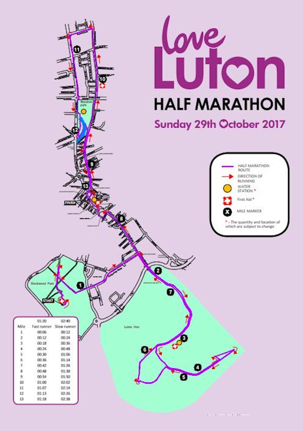 Love Luton half Marathon Route Map
