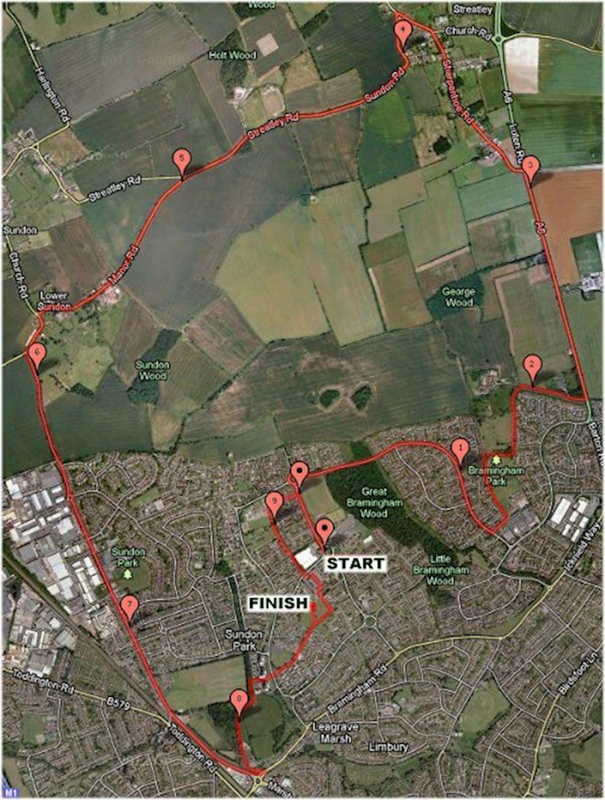 Luton Marathon Routenkarte
