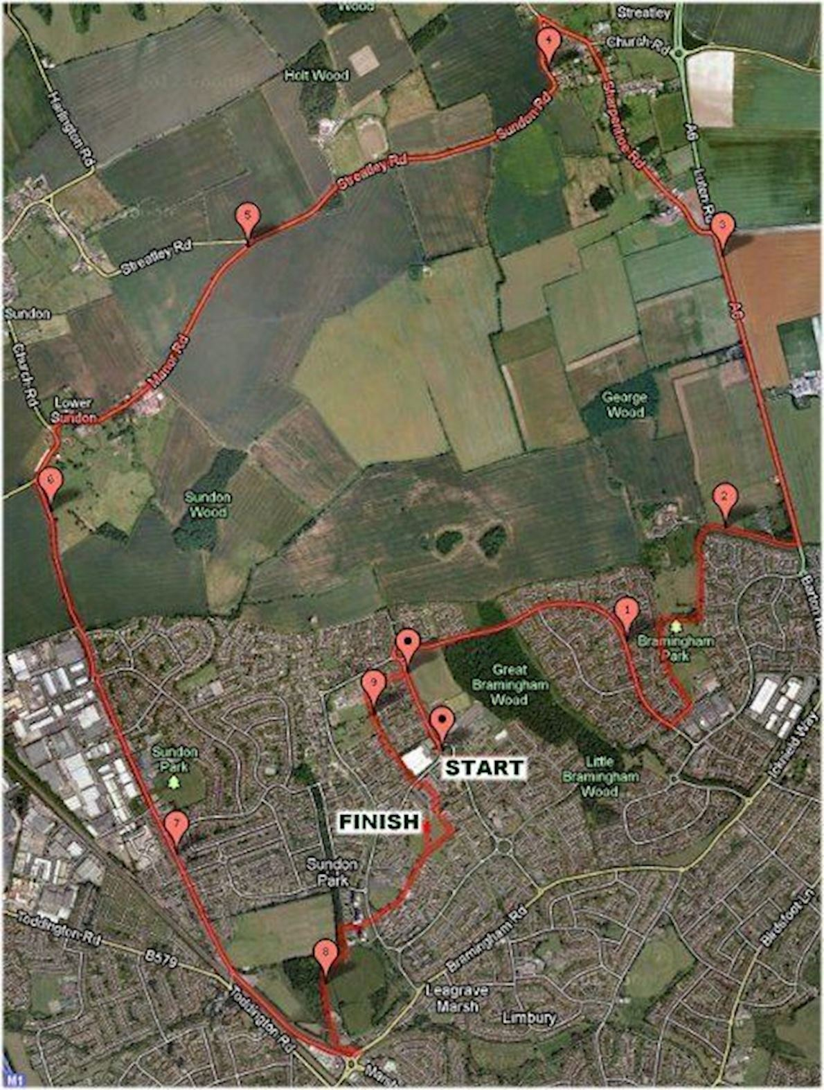 Love Luton Half Marathon Route Map