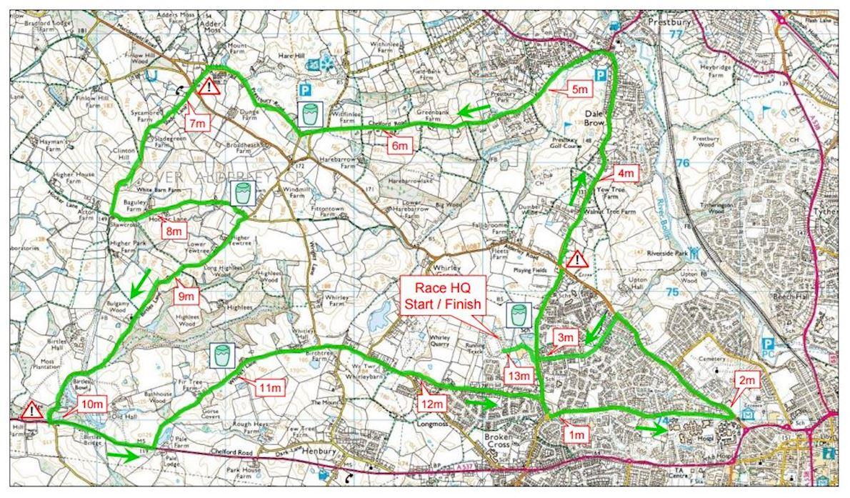 Macclesfield Half-Marathon Mappa del percorso