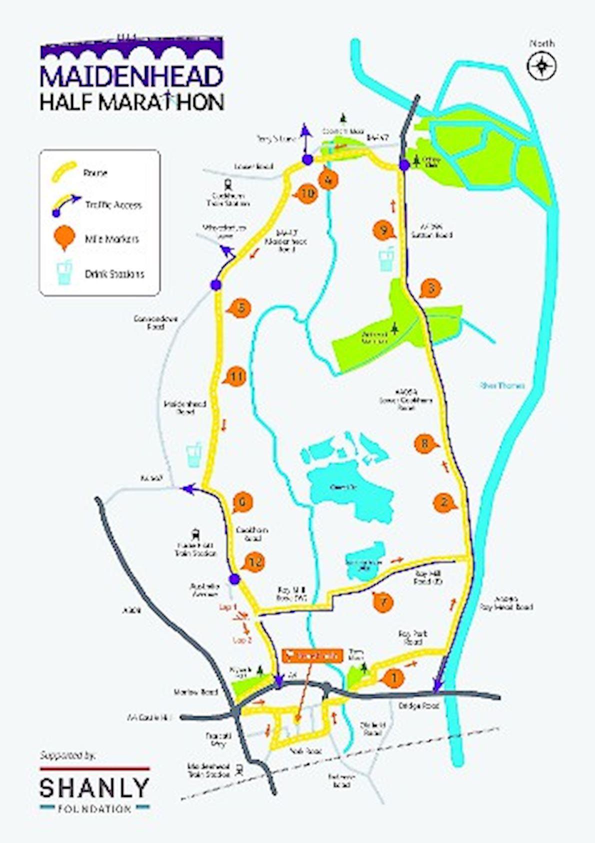 Maidenhead Half Marathon Mappa del percorso