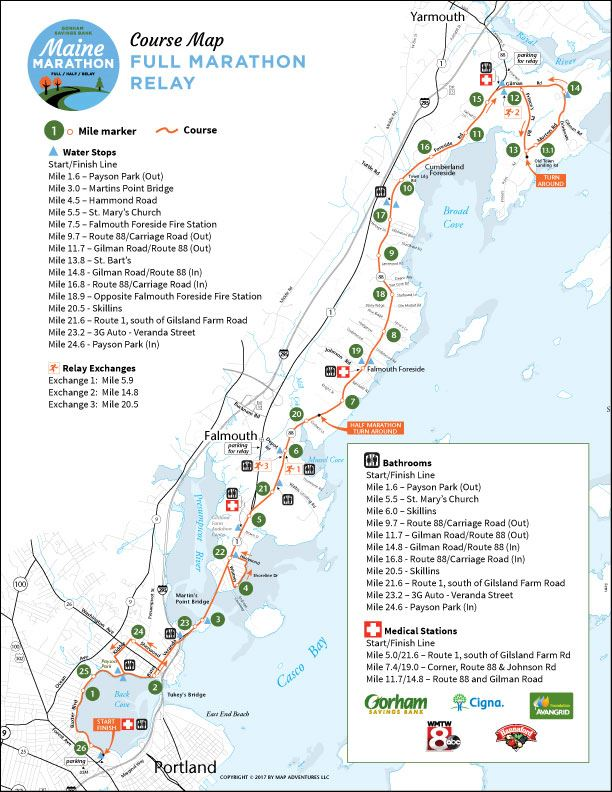 Gorham Savings Bank Maine Marathon, Half Marathon & Relay Route Map
