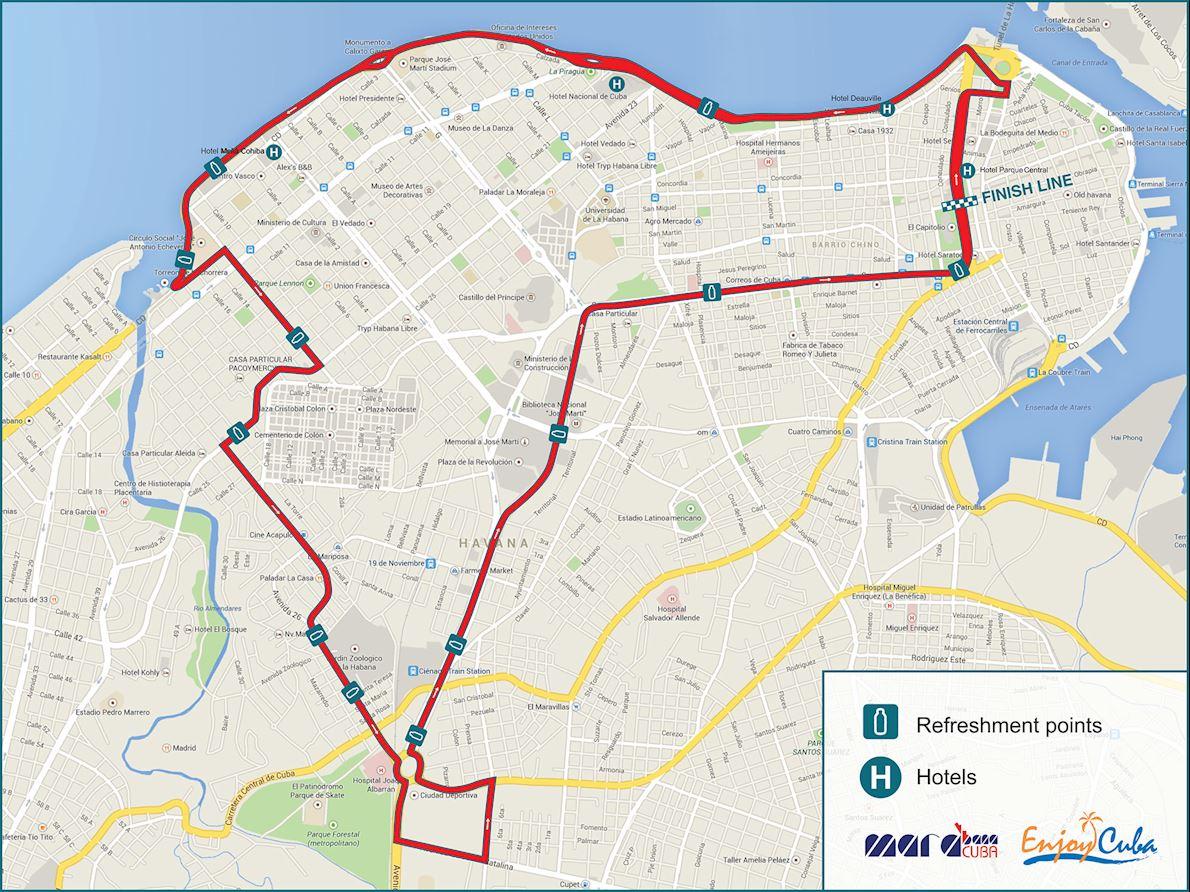 Marabana Havana Marathon Mappa del percorso